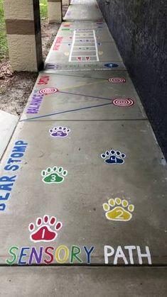 Sensory Path - Sensory Path by Teaching Outside the Box Gross Motor Activities, Sensory Activities, Sensory Play, Activities For Kids, Sensory Bags, Sensory Diet, Playground Painting, Playground Games, Preschool Playground