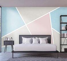 Bedroom Wall Designs, Wall Decor Design, Deco Design, Geometric Wall Paint, Room Wall Painting, 3d Home, Traditional Wallpaper, Home Wallpaper, Self Adhesive Wallpaper