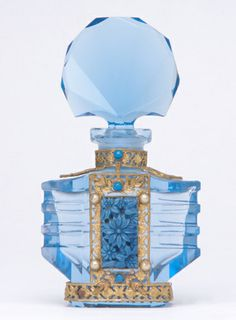 CZECH Perfume bottle in blue crystal with enameled a