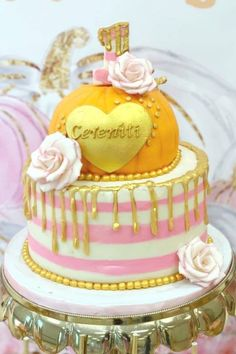 This fabulous pumpkin 1st birthday cake is definitely a showstopper! You can't get much better than this. The pumpkin top tier is fantastic. and just look at that look gold drip! I love it. See more party ideas and share yours at CatchMyParty.com Boys 1st Birthday Party Ideas, 1st Birthday Party For Girls, First Birthday Cakes, Birthday Celebration, Bohemian Birthday Party, Pumpkin Cake Pops, Pumpkin 1st Birthdays, Holiday Cakes, Gorgeous Cakes