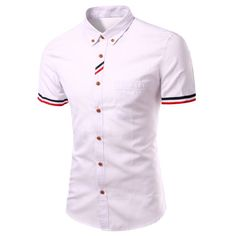 Stylish Turn-Down Collar Striped Short Sleeve Button-Down Shirt For Men Funky Shirts, Cheap Shirts, Casual Shirts, Striped Shorts, Men's Collection, Types Of Shirts, Men Casual, Button, Patterns