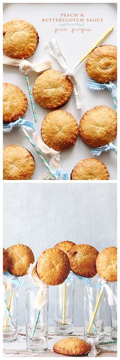 How cute? Peach & Butterscotch Sauce Pie Pops! See how to make them on Delish Dish: http://www.bhg.com/blogs/delish-dish/2013/06/24/peach-and-butterscotch-sauce-pie/?socsrc=bhgpin062413piepops