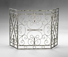 Cyan Design #04094, French, Crawford Fire Screen, Iron, Distressed Antique White #CyanDesign #FrenchCountry