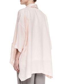 3/4-Sleeve Linen Shirt Jacket