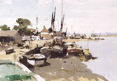 John Yardley - Barges on the Blackwater Watercolor Artwork, Watercolor Artists, Watercolor Landscape, Abstract Landscape, Watercolor Water, Landscape Drawings, Landscape Paintings, Landscapes, Boat Drawing