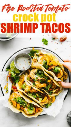 Gluten Free Crock Pot Fire Roasted Shrimp Tacos We love making crock pot tacos This recipe requires little prep Slow cooking the shrimp with fire roasted tomatoes an. Crock Pot Shrimp, Crock Pot Tacos, Tacos Crockpot, Shrimp Tacos, Slow Cooker Recipes, Crockpot Recipes, Healthy Recipes, Free Recipes, Clean Eating Snacks