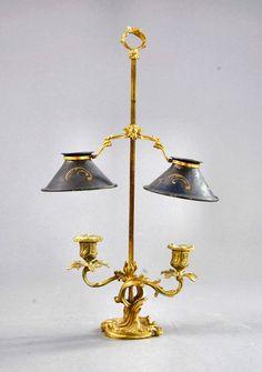 BOUILLOTTE LAMPE LOUIS XV BAROCK ROKOKO Goldbronzemontierung Tischlampe