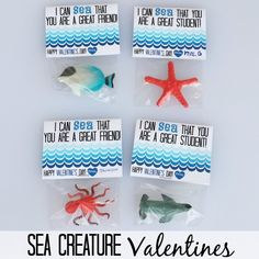 Printable Sea Creature Valentines | Submitted to InspirationDIY.com