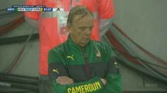 """This is Volker Finke, the manager of the Cameroon national soccer team. 
