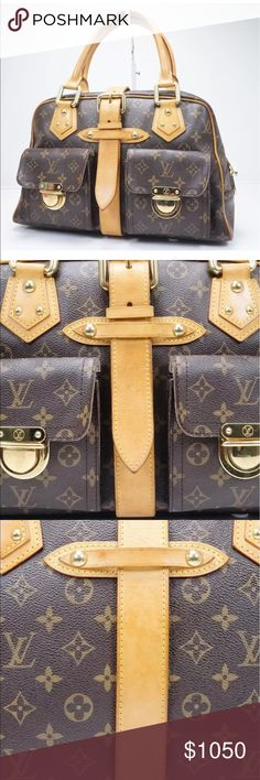 Authentic Louis Vuitton Manhattan GM Authentic Louis Vuitton Manhattan GM. In great condition, honey patina- inside is very clean- no marks inside and canvas and piping are all in great condition. Only flaw is ONE corner has a small exposed piping. I zoomed in on the photo but it's very small in actuality. Offers accepted. Louis Vuitton Bags Shoulder Bags