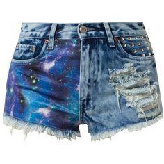 BamBam NEBULA BAMBINO Denim shorts (68 CAD) ❤ liked on Polyvore featuring shorts, blue, galaxy shorts, pocket shorts, short jean shorts, denim shorts and bambam