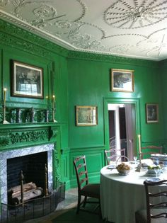 More inspiration for the green walls in our bedroom - this is George Washington's dining room at Mount Vernon. (Poor quality iphone pic) --RZF