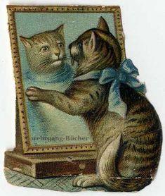Vintage Victorian die cut paper scrap, Cat in the mirror from ca. 1880