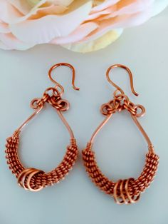 Handmade Copper Wire Wrapped Earrings French Hooks Measurement 2 Inches Tarnish Resistant The Finest Quality Gemstones; How To Make Earrings, Simple Earrings, Copper Earrings, Beaded Earrings, Hoop Earrings, Jewelry Patterns, Jewelry Ideas, Custom Jewelry, Handmade Jewelry
