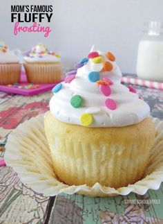 Fluffy Frosting Recipe- This fluffy frosting recipe WILL make your family jump for joy! It's fluffy, it's bouncy, it's soft and it is incredibly fun to eat.