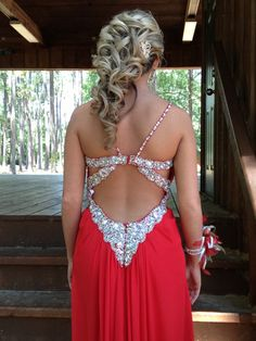 Senior prom hair updo curly red dress love