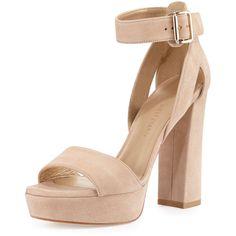 Stuart Weitzman Mostly Suede Platform Sandal (646 CAD) ❤ liked on Polyvore featuring shoes, sandals, heels, beach, open toe sandals, block heel sandals, stuart weitzman sandals, ankle wrap sandals and platform sandals