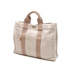 Pre-Owned Hermes Beige Canvas Fourre Tout MM Tote Bag (5,535 MXN) ❤ liked on Polyvore featuring bags, handbags, tote bags, striped tote bag, canvas tote, hermes tote bag, canvas tote bag and pink canvas tote