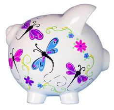 Personalized Butterfly Piggy Bank Hand Painted Pink & Purple Butterflies Dragonflies for girls butterflies custom customized name PIGG-whi Purple Butterfly, Pink Purple, Cute Crafts, Crafts For Kids, One Stroke Painting, Flying Pig, Money Box, Little Pigs, Piggy Banks