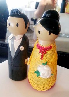 Traditional Wedding Wooden Peg Doll Cake Topper with by CustomCao, $49.00