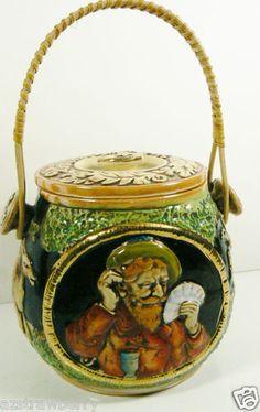 Vintage Stoneware Stein Pottery Biscuit Jar Canister Basket Lidded w Handle | eBay