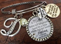 Mother of the BRIDE, Mother of the Groom Gift, BANGLE bracelet, Mother in law gift, PERSONALIZED wedding, Initial jewelry, Mother daughter by buttonit on Etsy Mother Of The Groom Gifts, Mother In Law Gifts, Mother Of The Bride, Mother Daughter Jewelry, Bangle Bracelets, Bangles, Initial Jewelry, Personalized Wedding, Initials