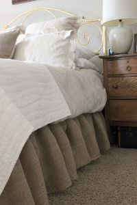 Burlap DIY Bed Skirt Love this for White Bed Room with antique furniture!