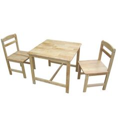 International Concepts Juvenile Kids 3 Piece Square Table and Chair Set