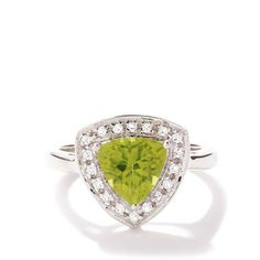 Changbai Peridot Ring with White Topaz in Sterling Silver 2.10cts