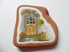 reservado para BEV Summer puerta de la casa - la pintura en miniatura de acrílico original en Scottish cerámica mar