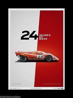 PORSCHE 917K 1970 1971 Le Mans Fine Art Print Poster Ltd Ed Set 4 MARTINI GULF 5