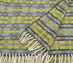 Apple green and grey lambswool throw - 'Dukagang Stripe' handwoven by Madeleine Jude