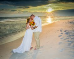 The picture everyone dreams of capturing, the beautiful sunset kiss! #wedding #beach #sunset #kiss