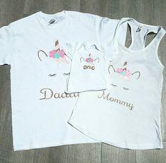 Unicornio 1er primer cumpleaños familia Set 3 piezas traje