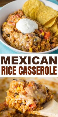 Vegetarian mexican casserole recipe with rice. Ultra creamy, cheesy, and made with real whole food ingredients. Everyone will love this recipe! Vegetarian Mexican Rice, Mexican Rice Recipes, Rice Recipes For Dinner, Whole Food Recipes, Vegetarian Recipes, Cooking Recipes, Cheesy Mexican Rice, Easy Mexican Dishes, Free Recipes