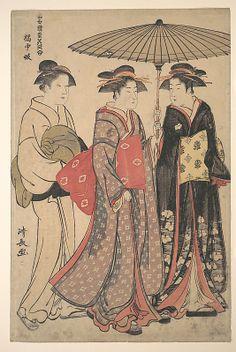 Dancers of Tachibana Street  Torii Kiyonaga  (Japanese, 1742–1815)  Period: Edo period (1615–1868) Culture: Japan Medium: Polychrome woodblock print; ink and color on paper