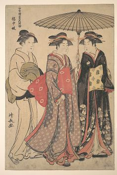 Dancers of Tachibana Street  Torii Kiyonaga  (Japanese, 1742–1815)  Period: Edo period (1615–1868) Culture: Japan Medium: Polychrome woodblock print; ink and color on paper