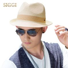 SIGGI Unisex straw sun hat  men  fedora panama summer beach trilby short brim fashion 16010
