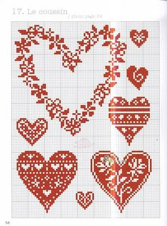 Cross-stitch  hearts ... no color chart available, just use the pattern chart as your color guide.. or choose your own colors