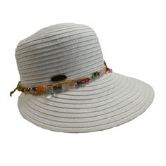 wide brim narrows toward back. Colorful bead chain and braided straw rope detail. Cappelli pin on side. One size fits most. Timeless Classic, Classic Style, Summer Hats For Women, Cloche Hat, Latest Fashion Trends, Chain, Beads, Detail, Colorful
