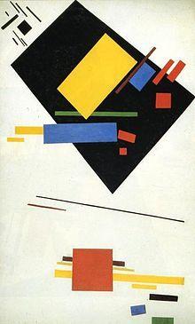 Malevich-Suprematism - Suprematisme. kenmerken suprematisme: geometrische vormen, abstract, kunst was spiritueel