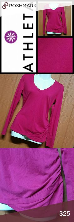 Athleta yoga top sz s GORGEOUS ATHLETA YOGA TOP  SZ S  IN A MAGENTA COLOR IN GOOD PRELOVED CONDITION FLAW: A BIT OF PILLING DUE TO MATERIAL NYLON&LYCRA Athleta Tops Tees - Long Sleeve