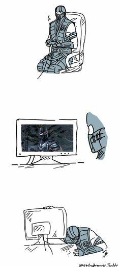 Sub zero plays MKX by zetsumeininja on DeviantArt Mortal Kombat Comics, Mortal Kombat Memes, Sub Zero Mortal Kombat, Mortal Kombat Art, Kung Jin, Moto Combat, Noob Saibot, Mileena, Baddies