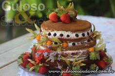 Receita de Naked Cake de Chocolate, Sem Glúten e Lactose
