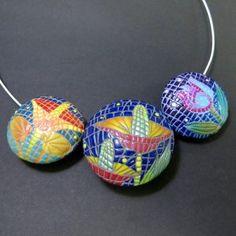 polymer clay DIY handmade beads - fimo mosaic beads necklace