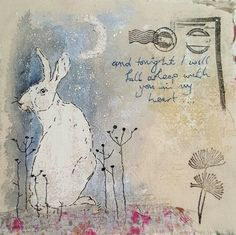 Textile art by Emily Henson Sewing Art, Sewing Crafts, Sewing Projects, Free Motion Embroidery, Machine Embroidery, Fabric Postcards, Envelope Art, Rabbit Art, Bunny Art