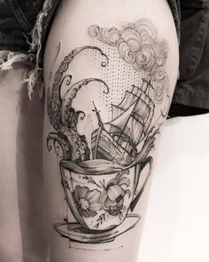 Octopus, Ship, And Teacup Tattoo Tattoos Mandala, Octopus Tattoos, Ocean Tattoos, Love Tattoos, Body Art Tattoos, Tattoos For Guys, Tatoos, Detailliertes Tattoo, Storm Tattoo
