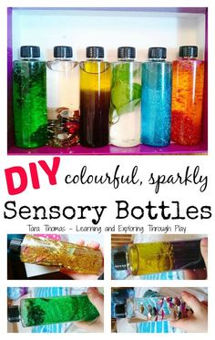 Learning and Exploring Through Play: Sensory Bottles DIY. Things to make with kids. Preschool activities. Baby toys. Ideas for baby. Calm down bottles.