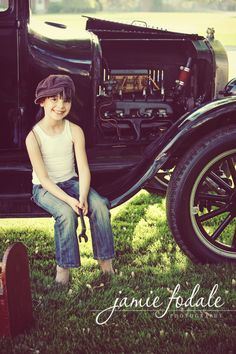 My beautiful daughter in front of her Grandpa's 1926 Model T vintage car.