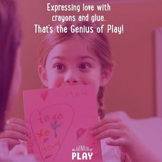 Expressing love with crayons and glue. That's the Genius of Play!! Click though for some great DIY Craft Ideas.